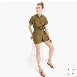 NWT J Crew sz 8 button up Romper frosty olive